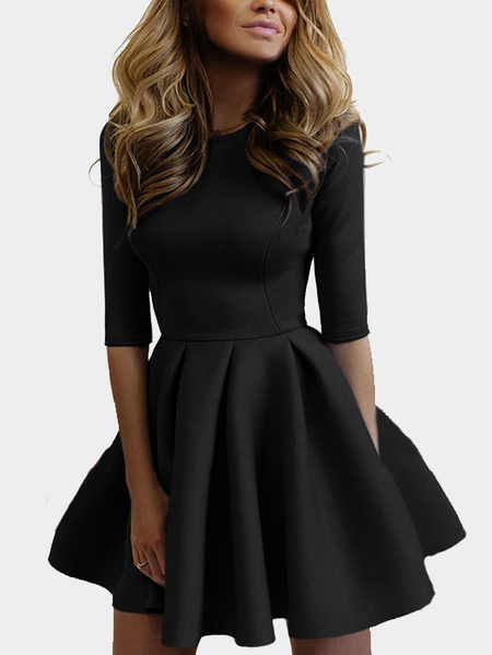 Casual Round Neck Mini Tight-waist Dress in Black