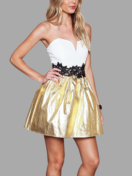 White & Gold Strapless Lace Tight-waist Mini Dress