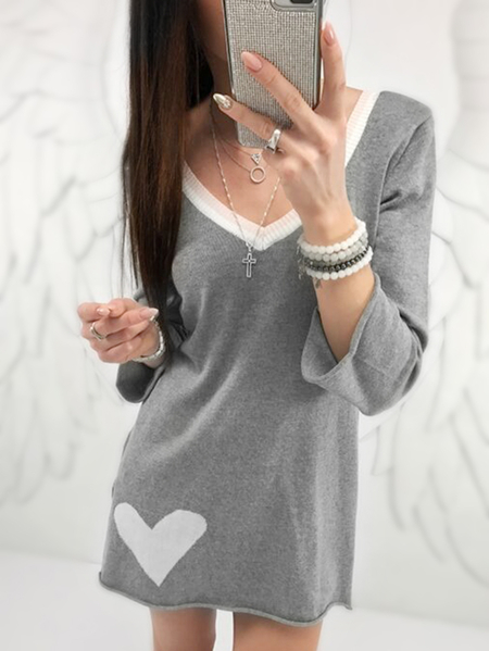 Grey Backless Design V-neck Long Sleeves Mini Dresses