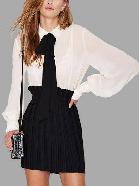 White Tie Bow Neck Blouse