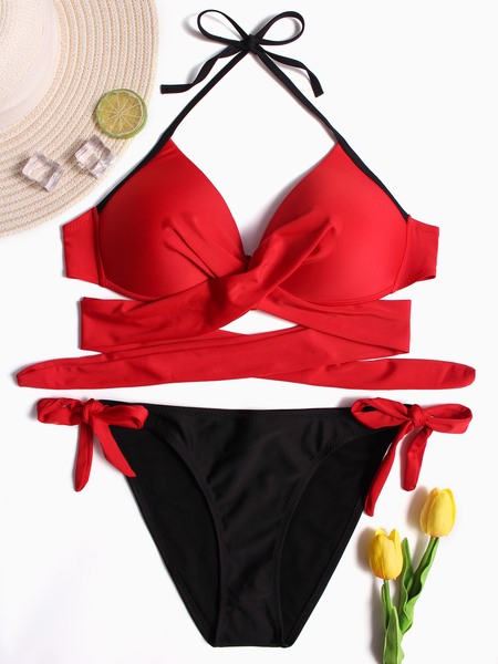 Red & Navy Halter Crossed Front Lace-up Design Bikini