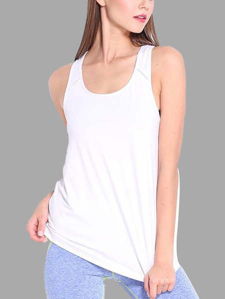 Active Scoop Neck Loose Sleeveless Vest in White