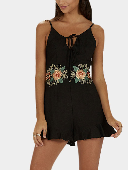 Black Sleeveless Embroidered Pattern Playsuit