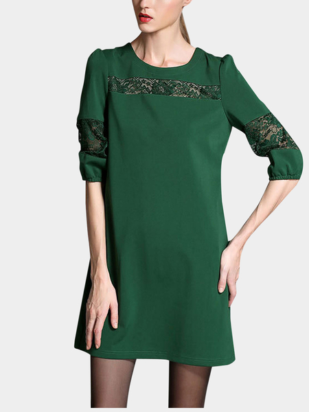 Plus Size Green Lace Insert Dress
