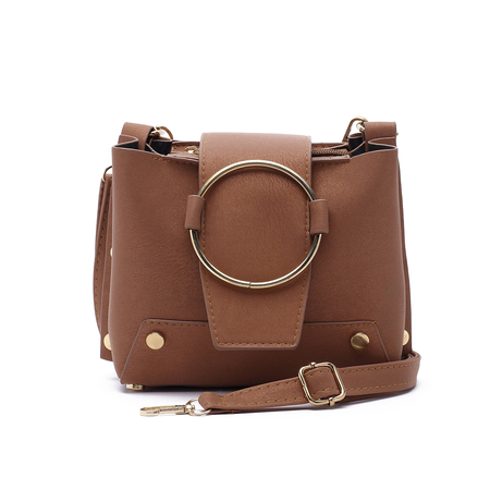 Brown Metal Ring Crossbody Bags with Chain