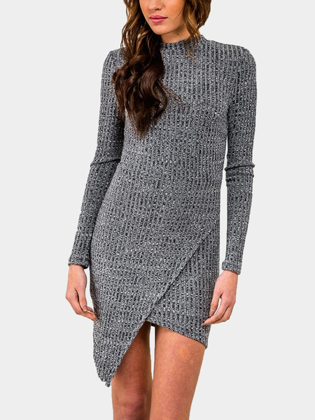 Grey Body-Conscious Knit Dress With Keyhole Back