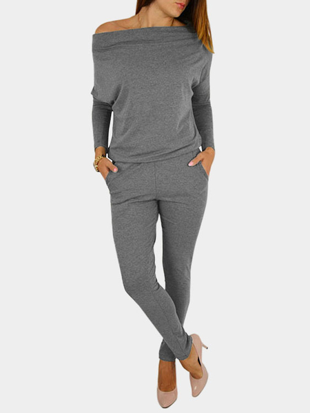 Grey Off Shouder Elastic Waist Jumpsuits