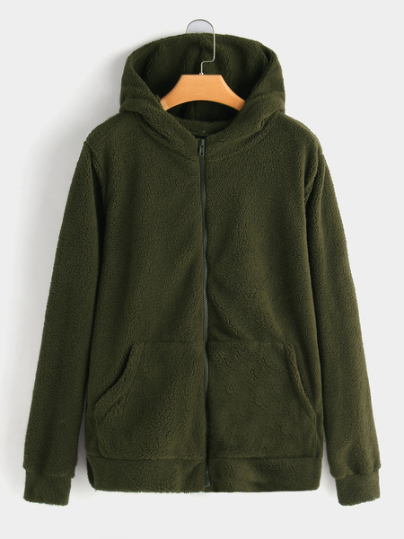 Plus Size Army Green Pocket Hooded Faux Fur Coat