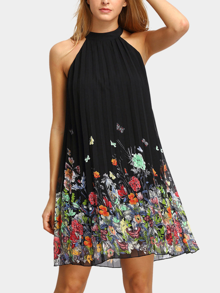 Black Random Floral Print Halter Pleated Design Dress