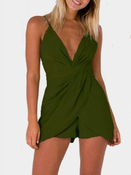 Fashion Deep V-Neck Sleeveless High-waist Playsuit With Shoulder Straps in Army Green
