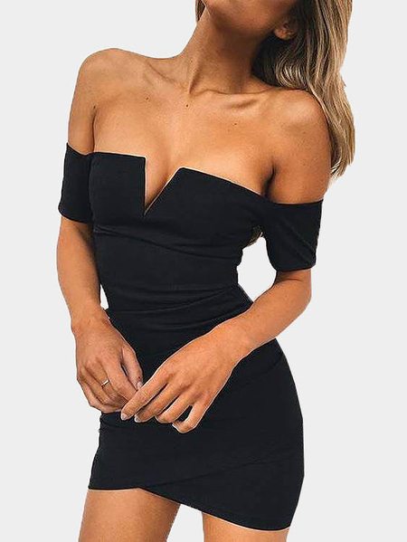 Black Off-The-Shoulder V-neck Bodycon Mini Dress