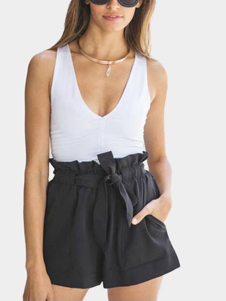 Black Pleated Waist A-line Shorts with Waist Tie