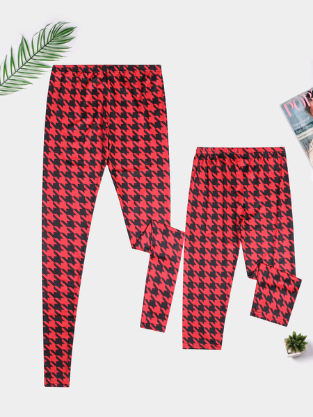 Mommy and Me Red Animal Pattern Christmas Matching Pants