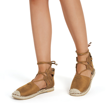 Tan Lace-up Design Casual Sandals