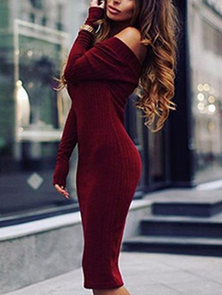 Burgundy Off Shoulder Long Sleeves Midi Knit Dress