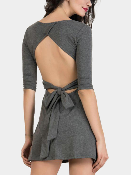 Grey Open Back Half Sleeves Dress