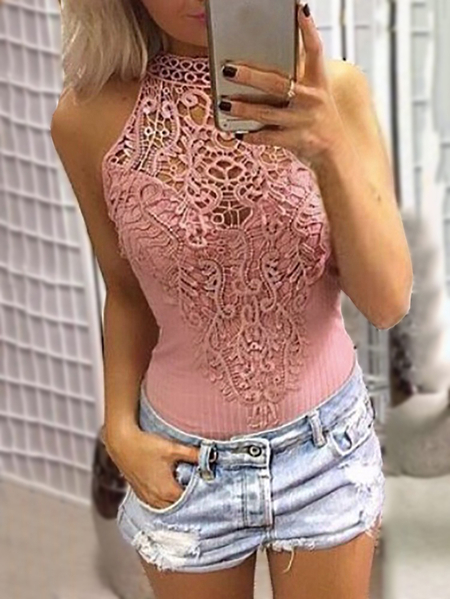 Pink Sexy Floral Lace Overlay Hollow Out Halter Neck Sleeveless Bodysuit