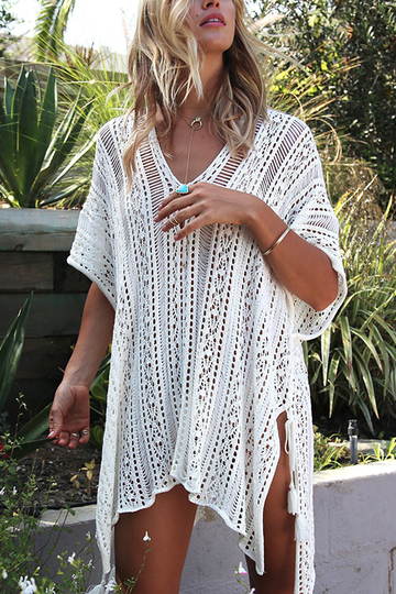 Delicate Crochet Hollow Overlay diseño Top en Blanco