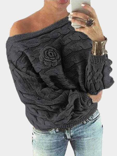 Dark Grey Off Shoulder Bat-wing Sleeves Random Point Floral Sweater