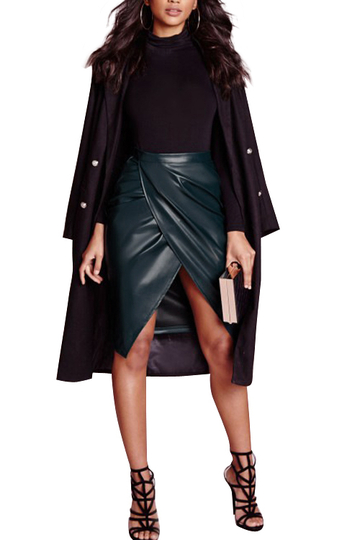 Dark Green Leather-look Velvet Wrap Slit Midi Skirt