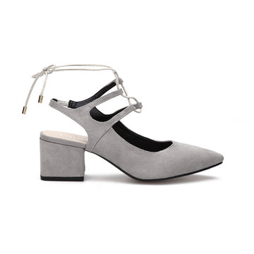 Grey Suede Pointed Toe Lace-up Slingback Shoes