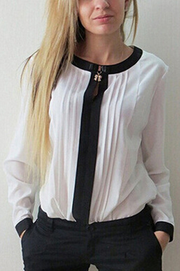 White Pleated Long Sleeves Blouse
