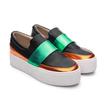 Color Block Slip-on Platform Shoes