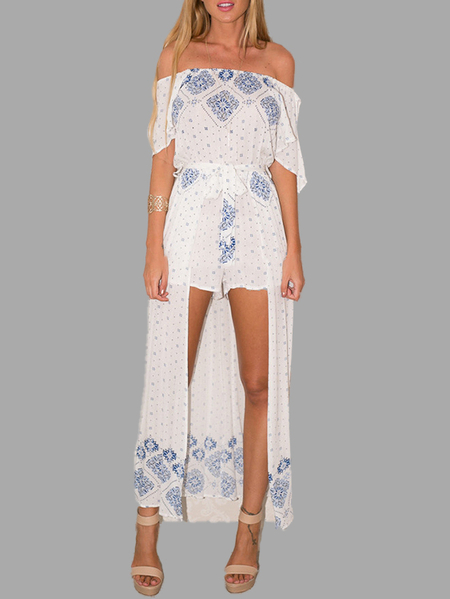 Ethnic Print Off The Shoulder Split Sleeves Maxi Jumpsuit with Belt