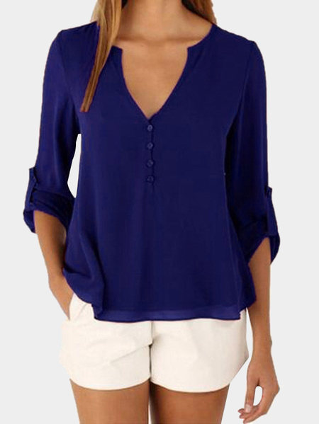 Dark Blue V-neck Long Sleeves Irregular Hem Top