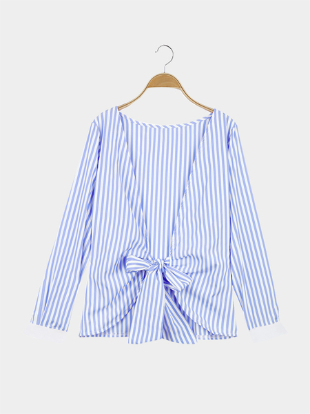 Blue Stripe Pattern Open Back Long Sleeves Top