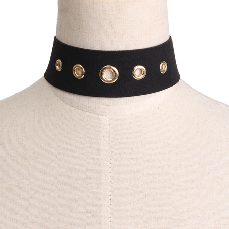 Only Love Velvet + Hoop Choker Necklace in Black