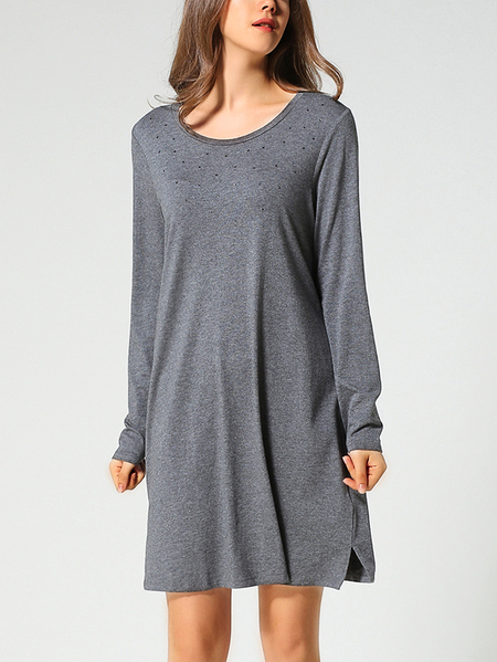 Round Neck Modal Long Sleeves Studded Pajamas Dress in Grey