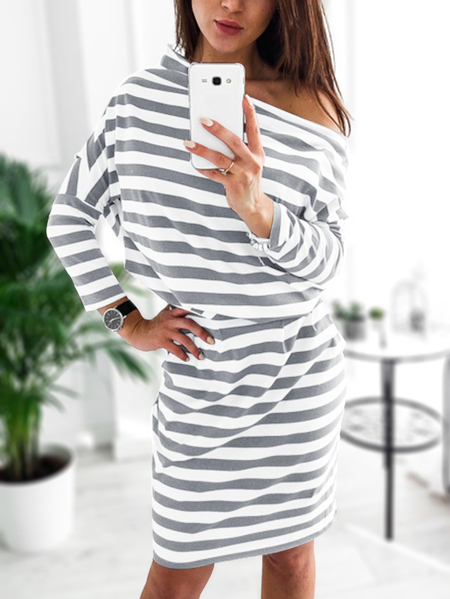 Grey & White Stripe Side Pockets Self-tie Off Shoulder Dress