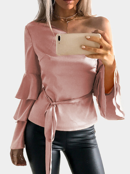 Pink One Shoulder Ruffle Bell Sleeves Blusa com Belt
