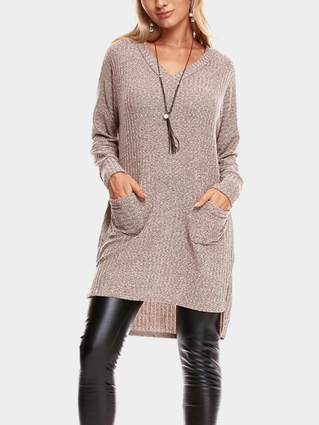 Brown Two Pockets V-neck Long Sleeves Sweater Dress