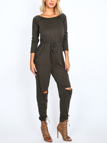 Green Fashion Off-shoulder Hollow Knee Jumpsuit