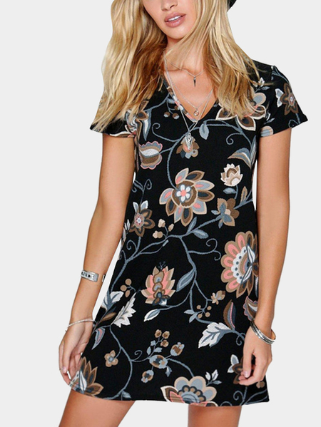 Diseño casual Plunge Random Floral Pattern Dress