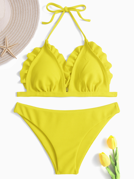Yellow Basic and Cute Ruffle Design Bikini Set