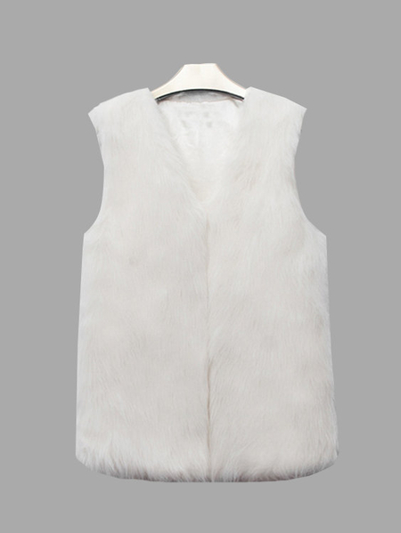 White Sleeveless Faux Fur Coat