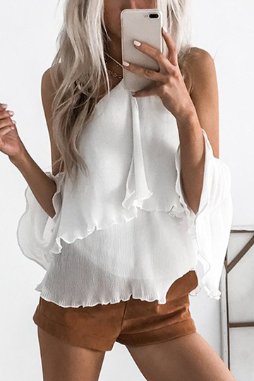 White Halter Cut Out Backless Blouses with Tiered Design
