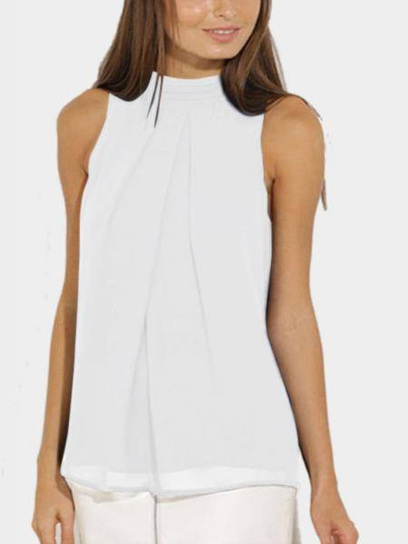 White High Neck Open Back Veste de Chiffon Plissado