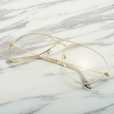 Gold Frame Double Bridge Clear Lens Glasses