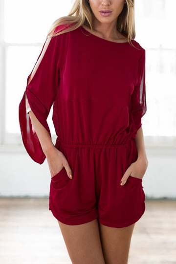 Playsuit with Open Back and Split Sleeve