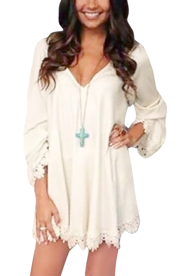 White Lace Details V-Neck Long Sleeves Dress