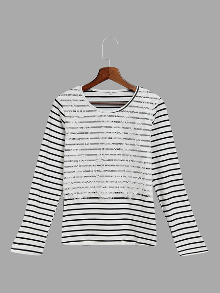 Casual Lace Striped Long Sleeve T-shirt