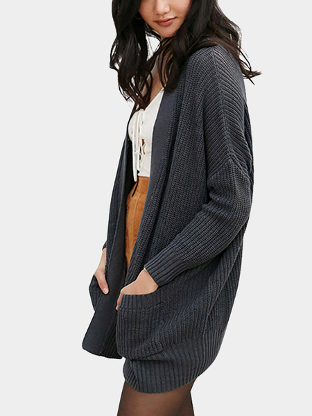 Grey Fashion Loose Irregular Hem Cardigan