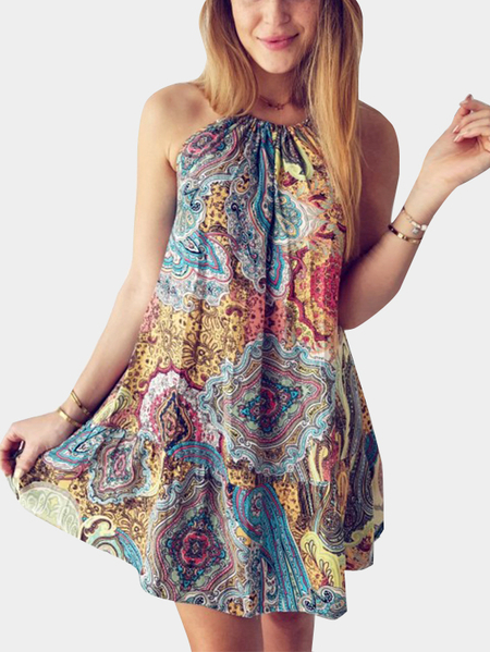 Bohemia Style Random Floral Print Mini Dress
