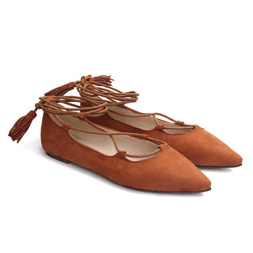 Brown Deda Lace-up Flats