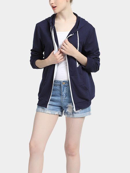 Dark Blue Long Sleeves Zip Front Hoodie