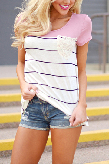 Stripe Pattern costura mangas cortas camisetas en color rosa
